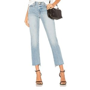 Frame Asymmetrical Step Hem Le High Straight Jeans